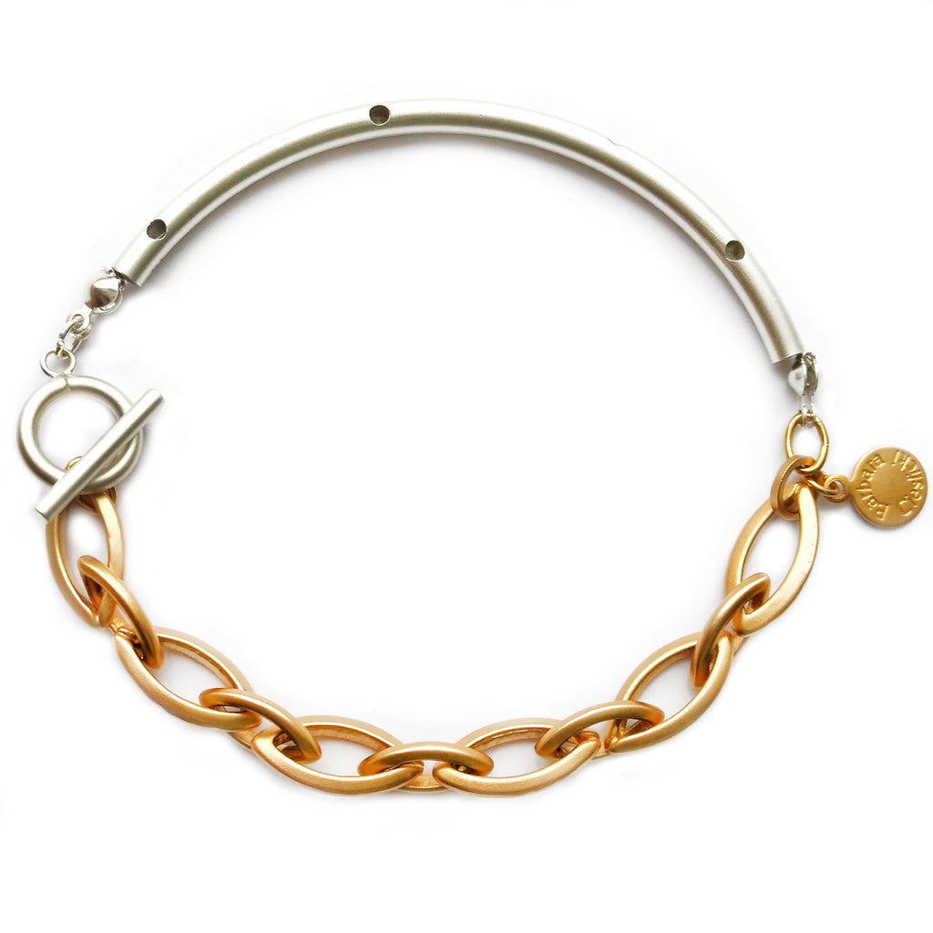 Gold Chain and Silver Tube Bracelet by Barbara Cieslicki