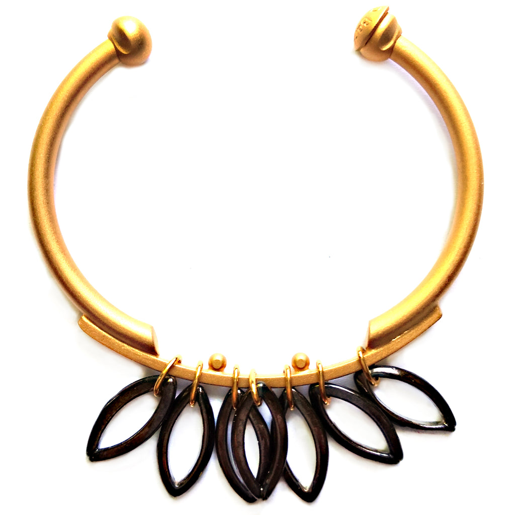 Gold and Hematite Fringe Bracelet by Barbara Cieslicki