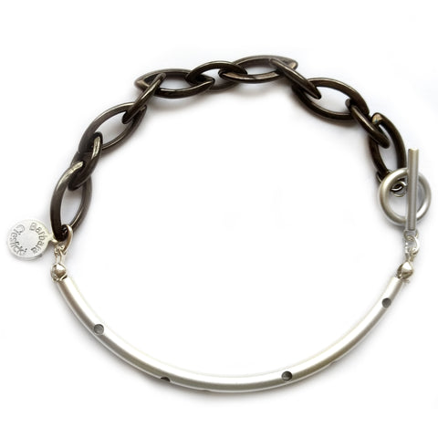 Hematite Chain and Silver Tube Bracelet by Barbara Cieslicki