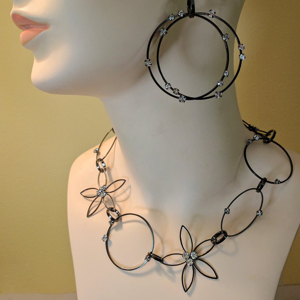 Hematite Flower Necklace by Barbara Cieslicki