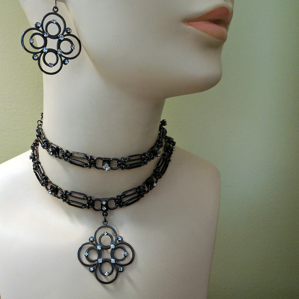 Hematite Quatrafoil Necklace by Barbara Cieslicki