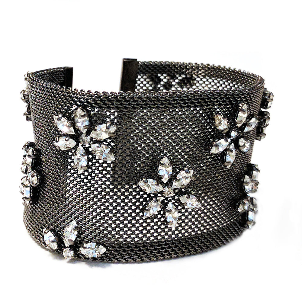 Wide Flower Garden Urban Mesh Bracelet by Barbara Cieslicki