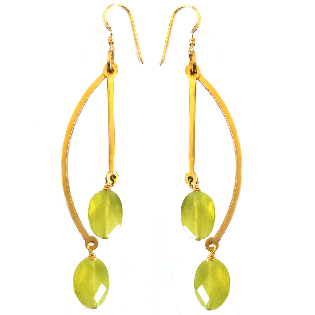 Korean Jade Double Earring by Barbara Cieslicki
