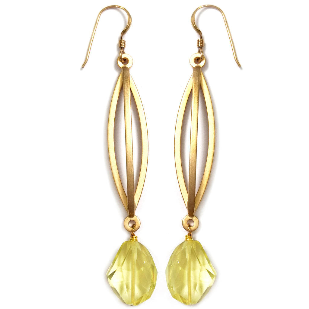 Lemon Citrine Triple Bar Earring by Barbara Cieslicki