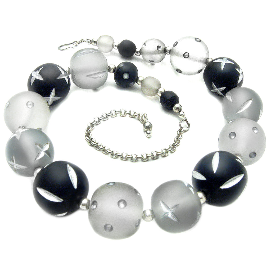 Black and Gray Carved Bead Necklace by Barbara Cieslicki
