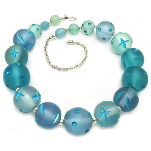 Blue Carved Bead Necklace by Barbara Cieslicki