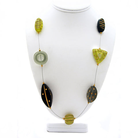 Neutral Green Lucite Bead Necklace by Barbara Cieslicki
