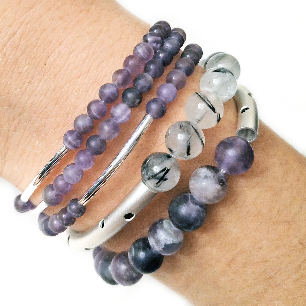 Dog Tooth Amethyst and Rutilated Quartz Triple Silver Stack by Barbara Cieslicki