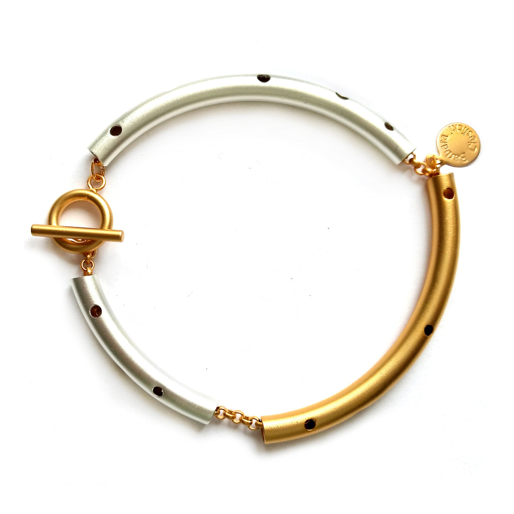Gold and Silver Tube Bracelet by Barbara Cieslicki