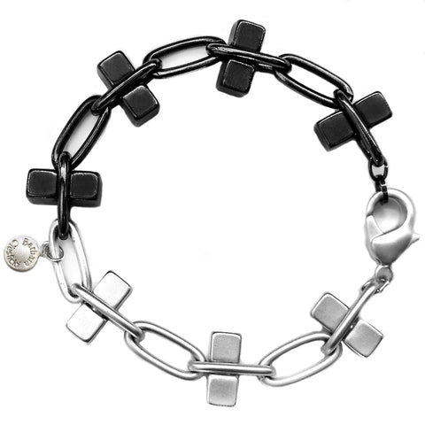 Hematite and Silver Bullion Bracelet by Barbara Cieslicki