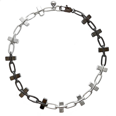 Silver and Hematite Bullion Necklace by Barbara Cieslicki