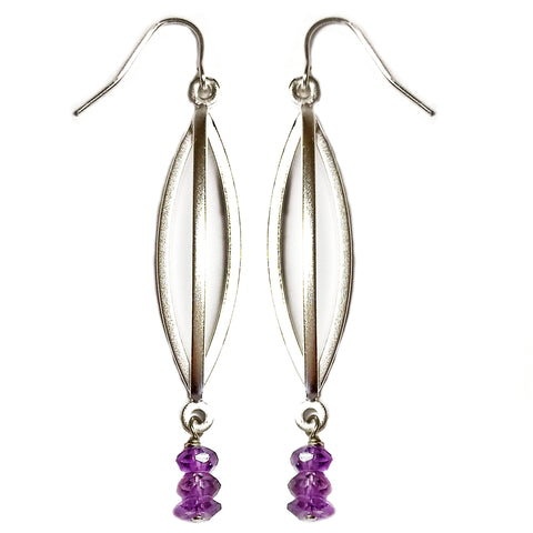 Amethyst Triple Bar Earring by Barbara Cieslicki