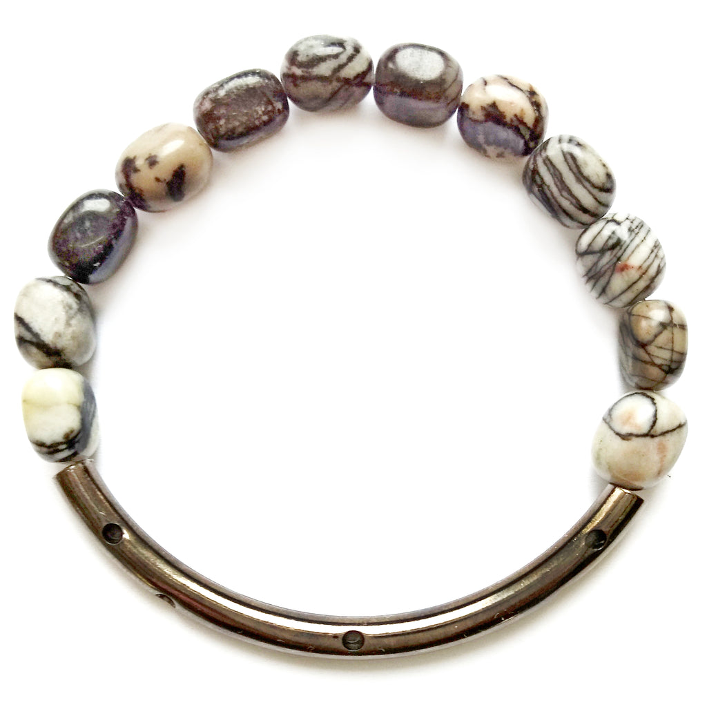 Striped Stone Stretch Hematite Bracelet by Barbara Cieslicki