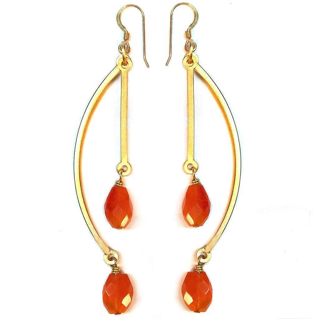 Carnelian Double Earring by Barbara Cieslicki