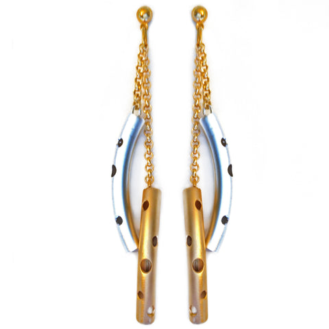 Gold and Silver Double Tube Earring by Barbara Cieslicki