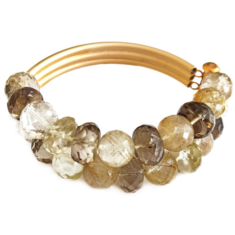 Oro Verde and Golden Rutilated Quartz Double Bracelet by Barbara Cieslicki