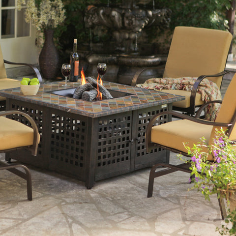Uniflame Propane Gas Fire Pit With Handcrafted Tile