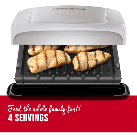 George Foreman 4-Serving Removable Plate & Panini Grill - Platinum