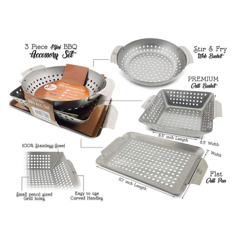 Image of Heavy Duty Stainless Steel Professional Barbecue Grilling Baskets