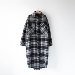 SHAGGY CHECK OVER COAT