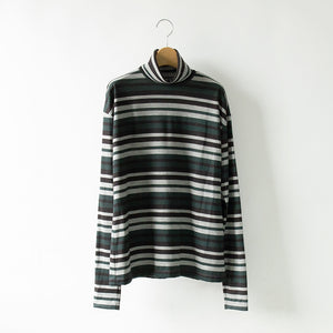 MULTI BORDER WOOL HI NECK TEE