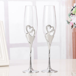 Crystal Wedding Champagne Flutes  2 PCS /Set   Perfect Gift.