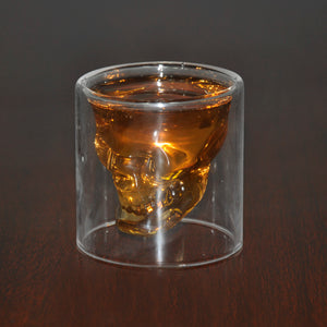 Crystal Skull Head Whiskey / Shot Glass - Transparent Double Layered Glass