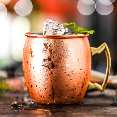 Stainless Steel Hammered Copper Plated Cocktail Mug - Beer Mug - Coffee Mug  - 550ml/18 Ounces