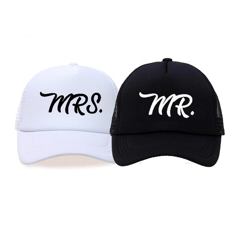 'Mr & Mrs' Baseball Caps for the Bride and Groom