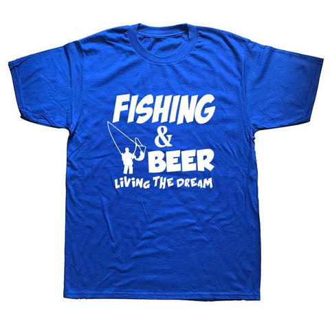 'Fishing And Beer. Living The Dream' Cotton T-Shirt