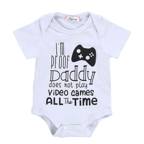 Baby or Girl Cotton Short Sleeved Bodysuit -  Daddy Doesn't Play Video Games All The Time