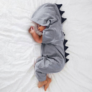 Hooded Infant Dinosaur Jumpsuit / Onesie for Baby Boys or Girls