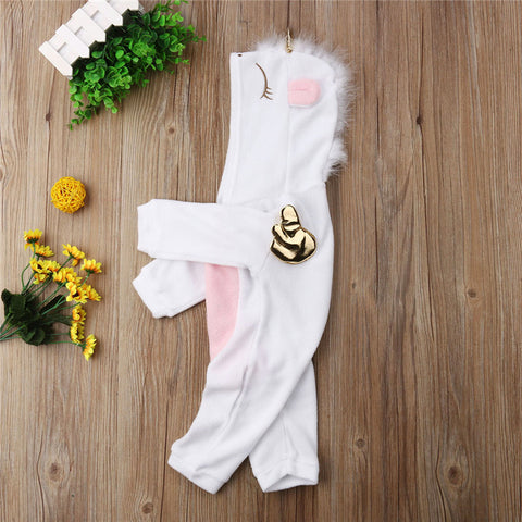 Super-Cute 3D Unicorn Fleece Romper for your Baby Girls