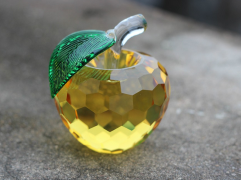 3D Crystal Apple Paperweight / Figurine For Your Home or Office