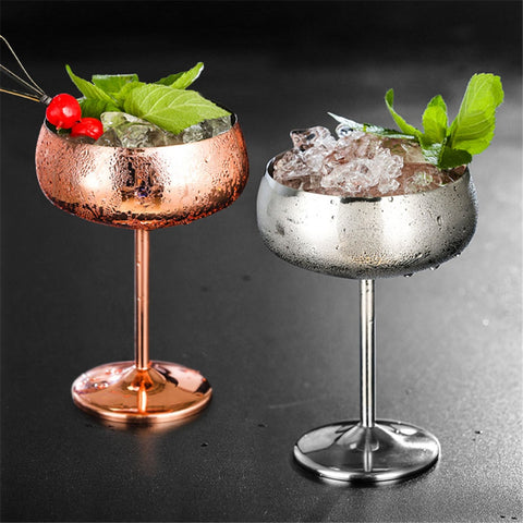 Luxury Stainless Steel Cocktail Glass / Champagne Goblet in Silver & Rose Colors