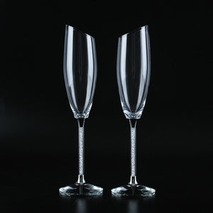 Stunning Slanting Champagne Flutes with Gift Box - Gold & Silver Stems