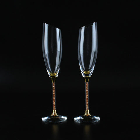 Image of Stunning Slanting Champagne Flutes with Gift Box - Gold & Silver Stems