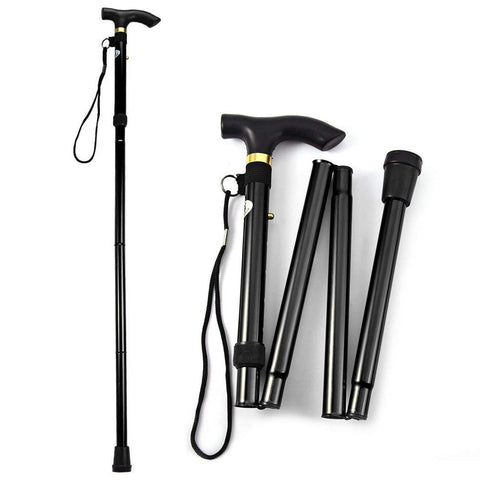T-handle walking stick telescopic baton Hiking trekking poles Aluminum Alloy Metal Folding Cane crutches Non Slip Rubber canes