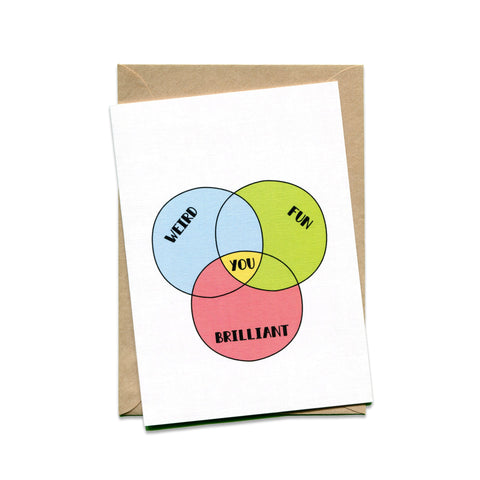 Venn Diagram: Weird, Fun, Brilliant Card