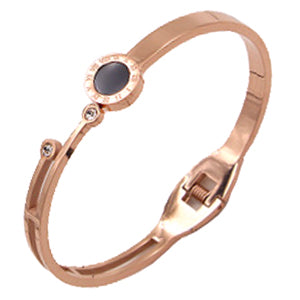 Crystal Rose Gold Hinge Bangle