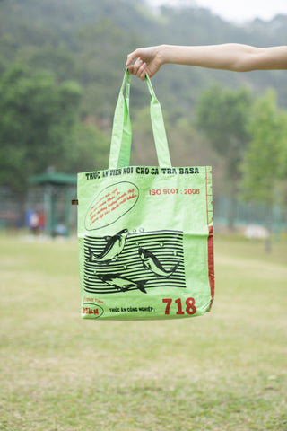 Reversible Recycled Budget Tote Bag made from Fish Feed Bags (Lime)