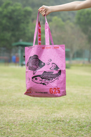 Reversible Recycled Budget Tote Bag made from Fish Feed Bags (Fuchsia Pink)