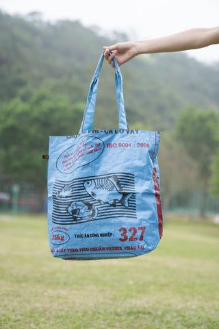 Reversible Recycled Budget Tote Bag made from Fish Feed Bags (Blue)