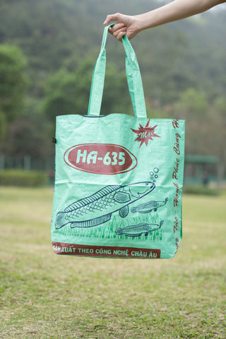 Reversible Recycled Budget Tote Bag made from Fish Feed Bags (Mint)