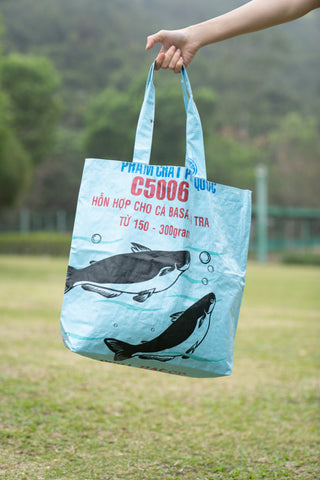 Reversible Recycled Budget Tote Bag made from Fish Feed Bags (Light Blue)