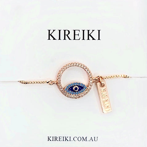 Blue Evil Eye Rose Gold Bracelet