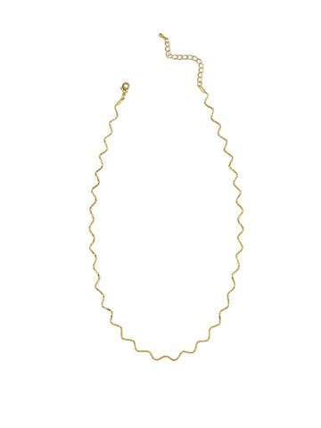 Gold Crinkle Chain Necklace