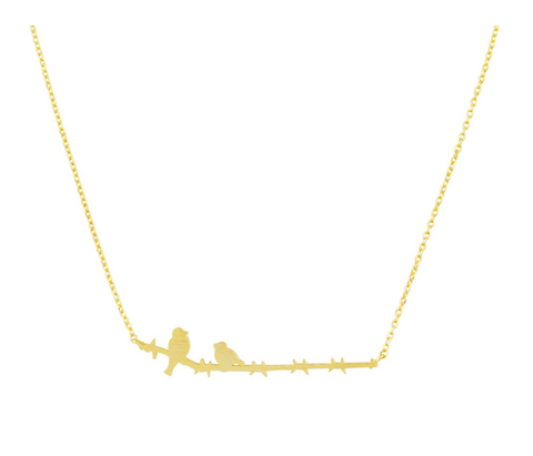 Gold Mama & Baby Bird Necklace