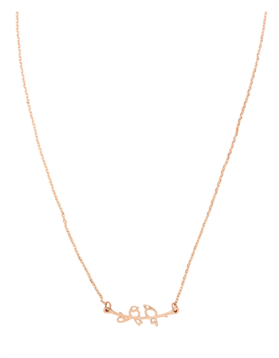 Rose Gold Love Birds Necklace