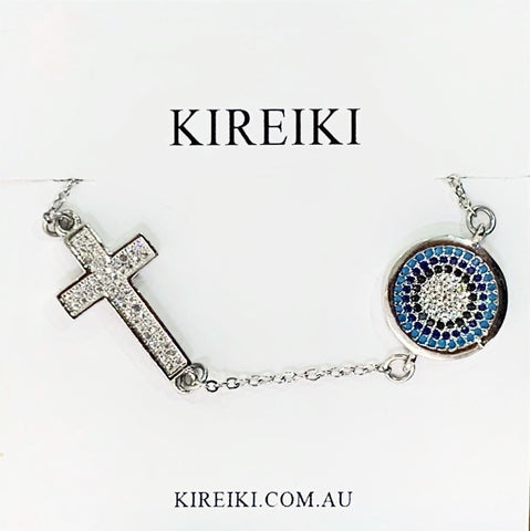 Evil Eye & Cross Silver Bracelet
